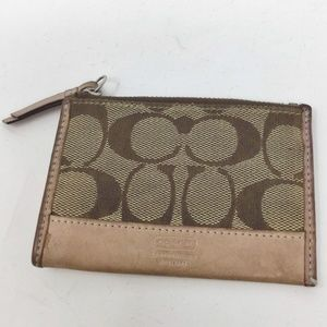 COACH Tan Signature Print Card Coin Case